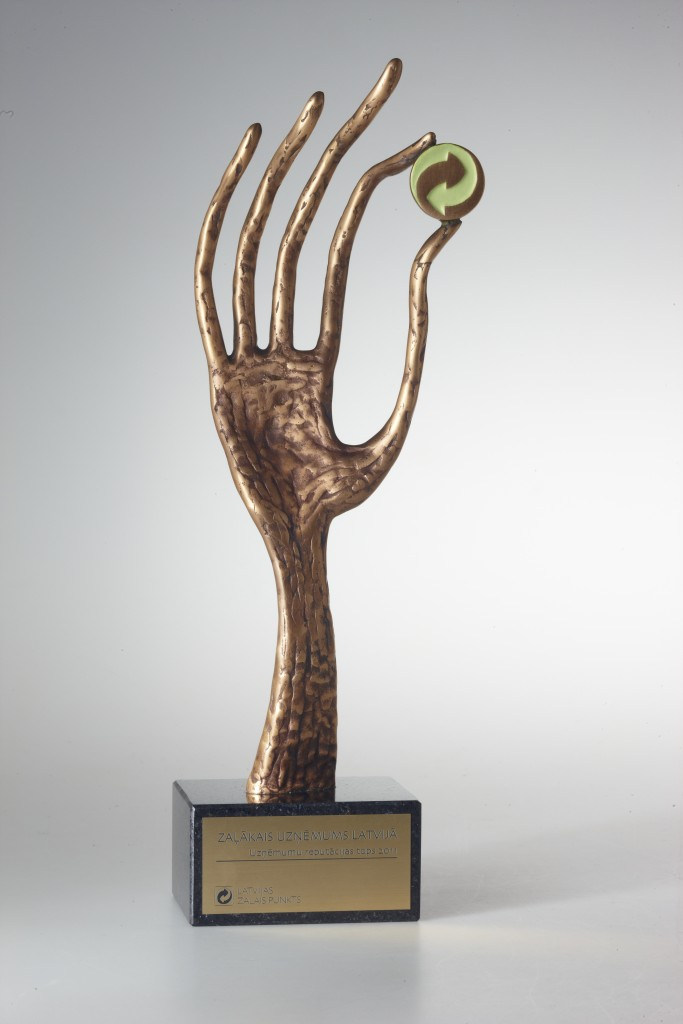 Award for Project Green Spot Cup, 2010-2011 bronze, granite. 34x10x8 cm. A/S Latvian Green Spot order.
