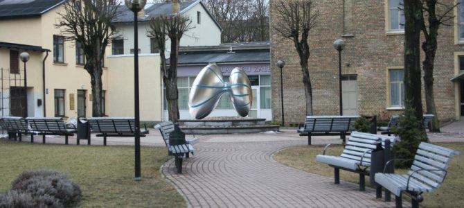 The central spatial accent in square at Raina and Gertrude street corner, Raina Street 10, Ventspils. 2006