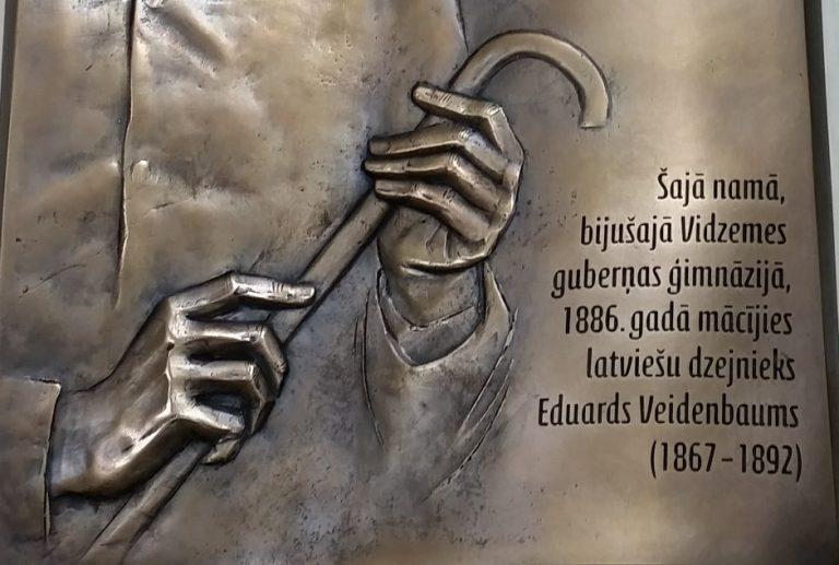 Memorial plate to poet Eduards Veidenbaums.